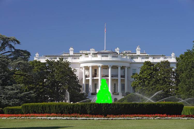 Green White house fountain